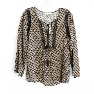 Daniel Rainn Anthropologie owl print blouse tassel